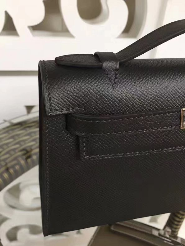 2017 hermes original epsom leather mini kelly 22 clutch K012 black 84ad7b2632