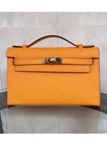 2017 hermes original epsom leather mini kelly 22 clutch K012 yellow 6449a0d163