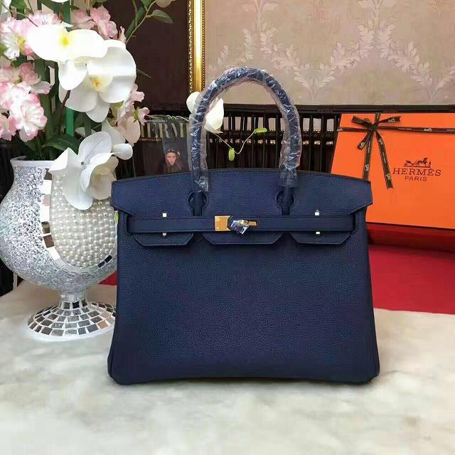 Hermes original togo leather birkin 30 bag H30-1 dark blue c608f9717cbdc