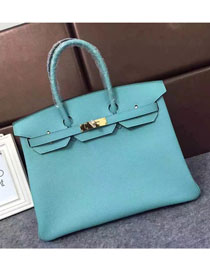 Hermes original togo leather birkin 30 bag H30-1 lake blue a56538608da3f