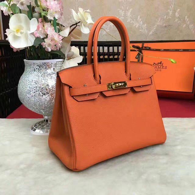 408fb5695f9 Hermes original togo leather birkin 30 bag H30-1 orange