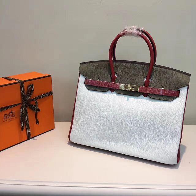 Hermes top togo leather birkin 30 bag H30-2 gray white eec6c7a2dbc10