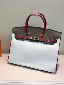 Hermes top togo leather birkin 35 bag H35-2 gray&white