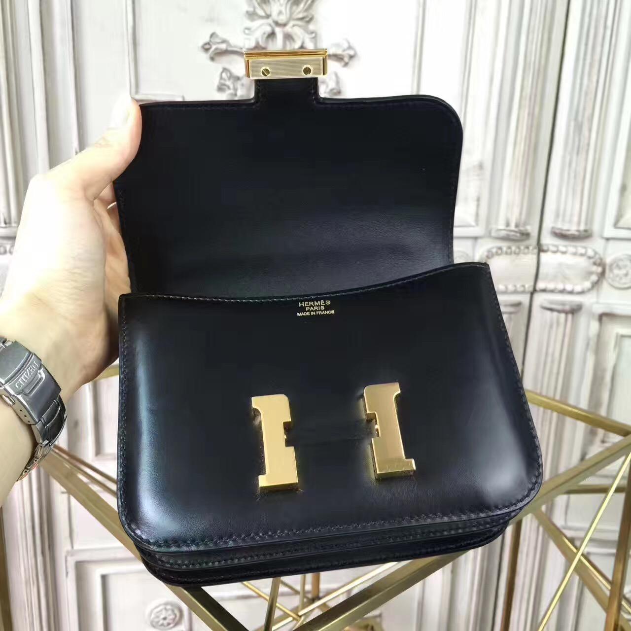 aee0ef26ae54 Hermes original box leather small constance bag C019 black
