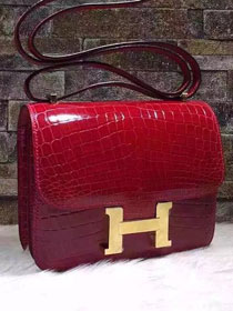 Top hermes 100% genuine crocodile leather constance bag C0023 red