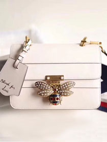 2018 GG original leather queen margaret small flap bag 476542 white