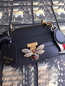 2018 GG original leather queen margaret small flap bag 476542 black