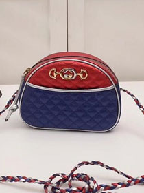 2018 GG original laminated leather mini bag 534951 blue&red