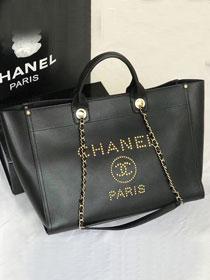 5ee035f84ebd86 2019 CC original grained calfskin large shopping bag A57067 black