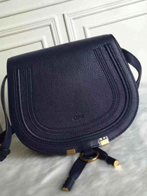 Chloe original calfskin large marcie crossbody saddle bag 2019 navy blue
