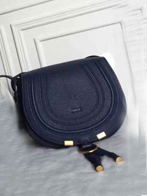 Chloe original calfskin marcie crossbody saddle bag 2000 navy blue