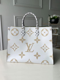 75b4357a6c89 2019 louis vuitton original monogram coated canvas onthego tote bag M44571  cream