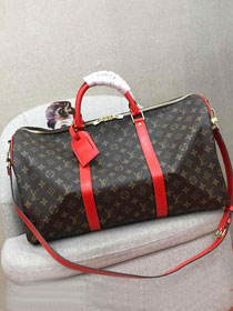 2019 louis vuitton original monogram canvas keepall bandouliere 50 M44643 red