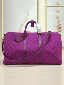 2019 louis vuitton original monogram denim keepall 50 M44645 purple