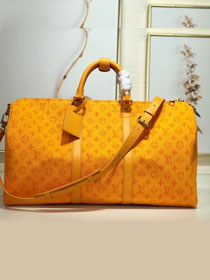 2019 louis vuitton original monogram denim keepall 50 M44644 yellow