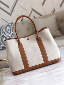Hermes original canvas large garden party 36 bag G36 white&coffee