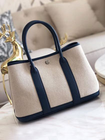 Hermes original canvas large garden party 36 bag G36 white&navy blue