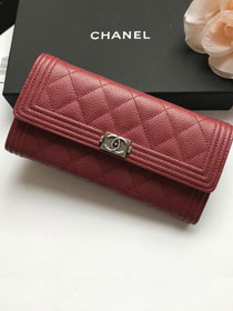 CC grained calfskin boy long flap wallet A80286 bordeaux