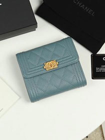 CC grained calfskin boy small flap wallet A81996 light blue