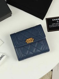 CC grained calfskin boy small flap wallet A81996 navy blue