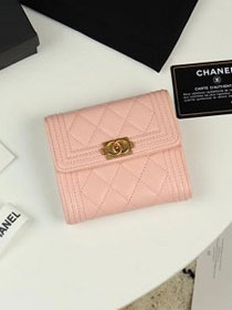 CC grained calfskin boy small flap wallet A81996 pink