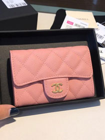 CC grained calfskin classic card holder AP0214 pink