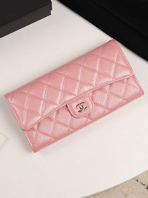 CC grained calfskin classic long flap wallet A80758 pink
