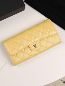CC grained calfskin classic long flap wallet A80758 yellow