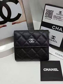 CC grained calfskin small flap wallet AP0096 black