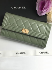 CC lambskin boy long flap wallet A80286 olive