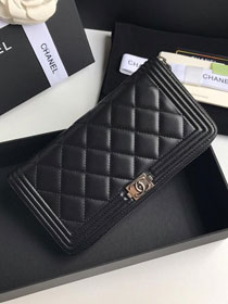 CC lambskin boy long flap wallet A80815 black