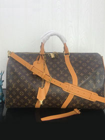 2019 louis vuitton original monogram canvas keepall bandouliere 50 M44645 apricot