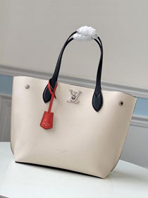 2020 louis vuitton original calfskin lockme cabas tote M55237 white