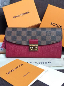 Louis vuitton damier ebene croisette long wallet N60207 burgundy