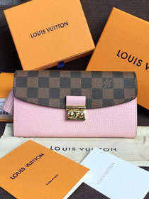 Louis vuitton damier ebene croisette long wallet N60207 pink