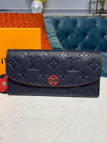 Louis vuitton monogram empreinte emilie wallet m62369 navy blue