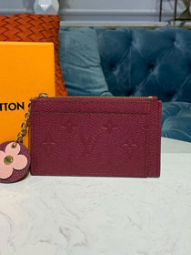 Louis vuitton monogram empreinte zipped card holder m68338 burgundy