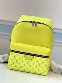 Louis vuitton original taiga leather discovery backpack M30228 lemon yellow
