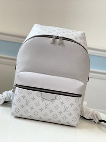 Louis vuitton original taiga leather discovery backpack M30232 white