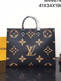 2020 louis vuitton original monogram giant canvas onthego tote bag M44674 black&coffee