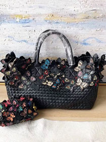 BV original intrecciato lambskin cabat bag with butterfly 115664 black