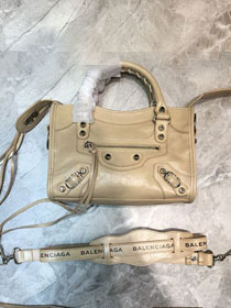 2020 Balenciaga original aged calfskin mini city bag 300295 apricot