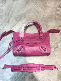 2020 Balenciaga original aged calfskin mini city bag 300295 rose red