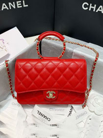 2020 CC original lambskin wallet on chain AP1177 red