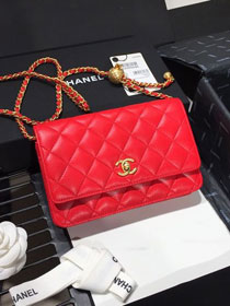 2020 CC original lambskin wallet on chain AP1450 red