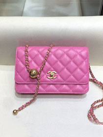 2020 CC original lambskin wallet on chain AP1450 rose red