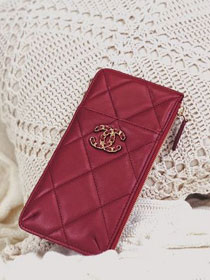 CC original lambskin 19 phone&card holder AP1182 wine red