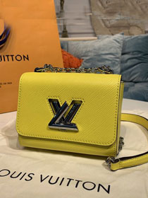 Louis vuitton original epi leather twist mini handbag M56119 yellow