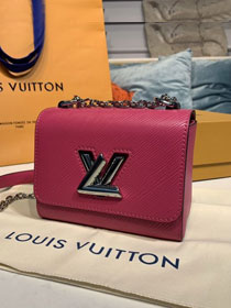 Louis vuitton original epi leather twist mini handbag M56120 rose red