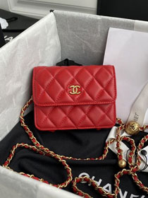 CC original lambskin small wallet on chain AP1465 red